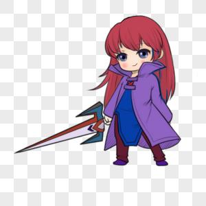 拿剑的女生图片
