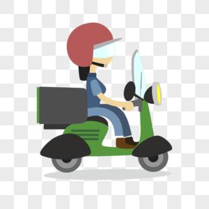 骑车送货图片