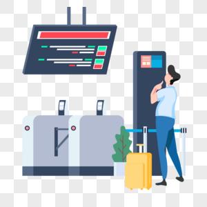 出发前在机场看航班信息的人图片