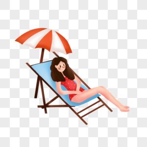 坐在沙滩椅上的女孩图片
