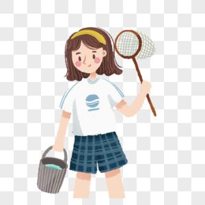 拿着渔网和水桶的女孩图片