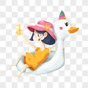 坐在游泳圈中喝饮料的女孩图片
