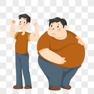 身材肥胖对比的男人图片