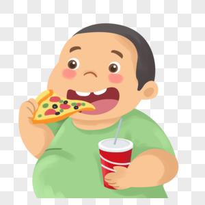 吃披萨的小胖子图片