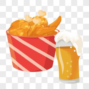 高热量食物炸鸡和啤酒图片