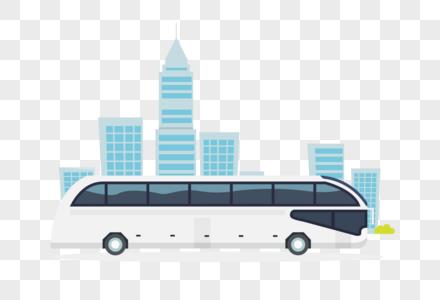 大巴车和城市街景图片