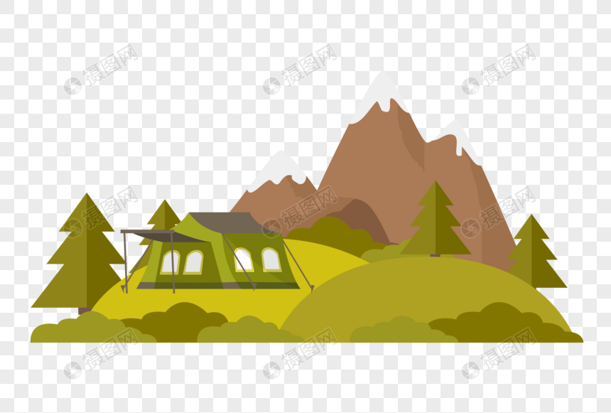 秋天的野外营地图片
