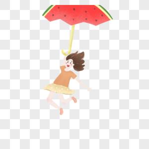 拿着西瓜雨伞的女孩图片