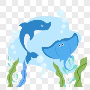 鳐鱼与海豚图片