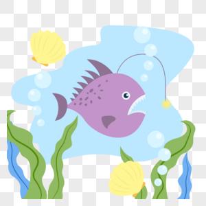 海底的鱼类和贝壳图片