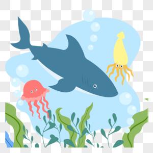 海底的鲨鱼和章鱼图片