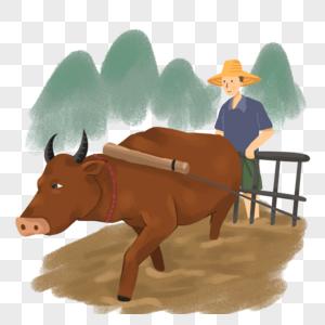 老农民和耕牛犁地图片