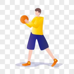 扁平化准备投球的少年图片