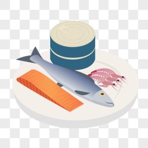 三文鱼肉鱼罐头和虾图片