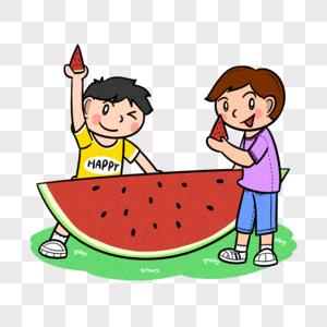 夏天两个男孩吃西瓜图片