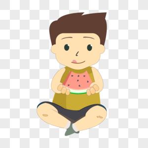 卡通人物吃西瓜装饰图片