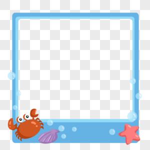 蓝色海洋生物相框边框图片