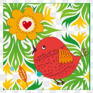 矢量鲜花与鸟儿图片