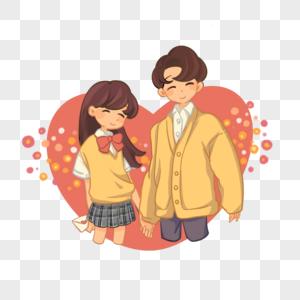 卡通可爱Q版情侣情人节七夕节日爱心图片