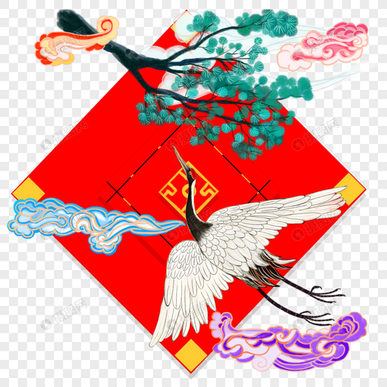 中国风水彩水墨祥云松鹤延年免抠边框图片
