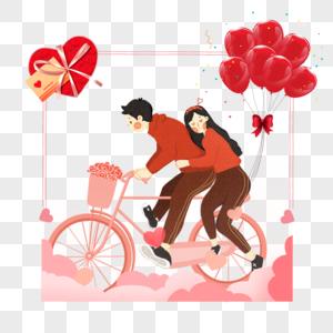 自行车恋人边框图片