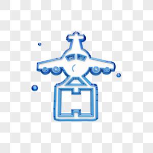 蓝色航空运输图标图片