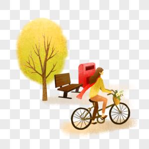 踩单车踏青秋游手绘小清新插画图片