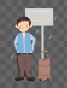 一个人车站等车图片