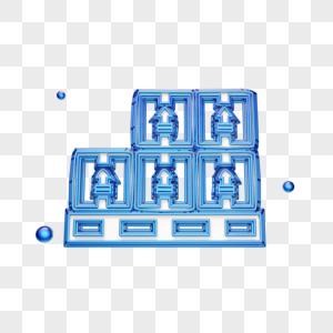 立体创意货箱图标图片