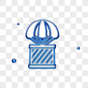 创意蓝色热气球运输图标图片
