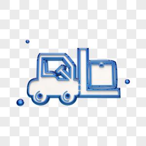 蓝色创意叉车图标图片