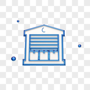 蓝色立体仓库图标图片