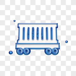 蓝色创意集装箱车图标图片