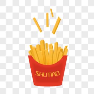 金黄色薯条png免抠矢量漂浮元素立体渐变红色包装袋图片