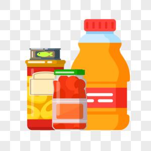 厨房里的黄桃罐头鱼罐头和食用油图片