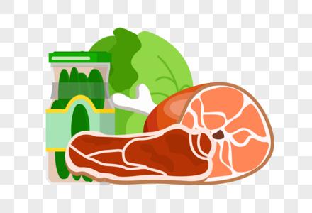 蔬菜肉类和罐头图片