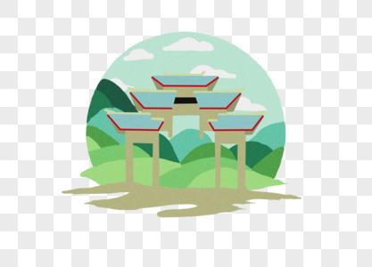山丘建筑物图片