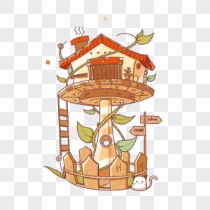 卡通童话风小屋图片