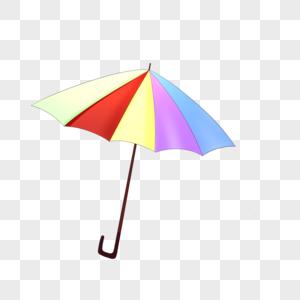 手绘卡通小清新创意可爱童趣彩虹雨伞素材免抠图片
