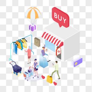 2.5d电商商场购物场景商业插画图片