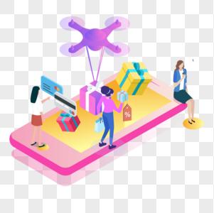 手机网购电商场景2.5d插画图片
