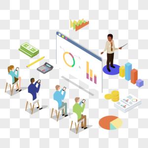 商业数据展示培训场景插画图片