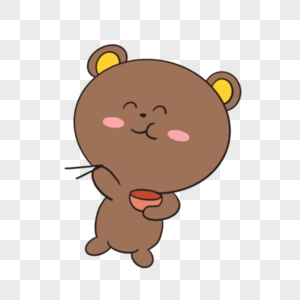 卡通棕色小熊吃饭插图图片