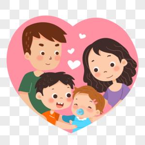 幸福的二胎家庭全家福图片
