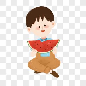 吃西瓜的小朋友图片