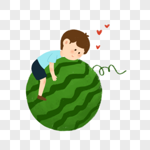 抱着西瓜的小朋友图片