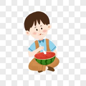 盘腿用勺子吃西瓜的小朋友图片