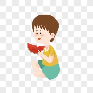 坐着吃一块红色西瓜的小朋友图片