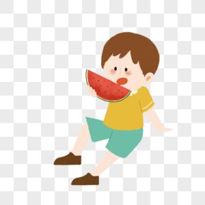 吃西瓜的小朋友小孩图片