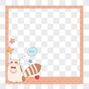 创意想吃鱼的可爱小猫简约边框图片